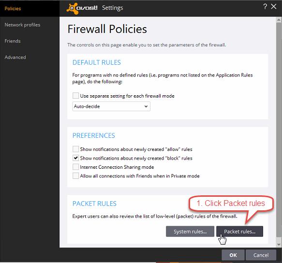 Configure AVAST Firewall