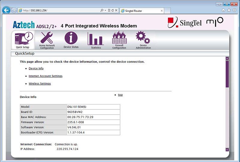 SingTel Aztech Router Configuration
